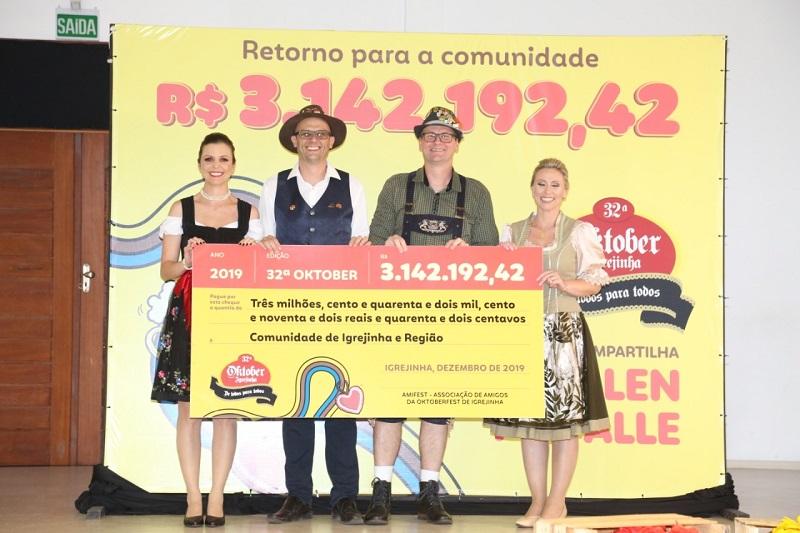 Resultado da Oktober de Igrejinha bate os R$ 3 milhões e beneficia 88 entidades da região